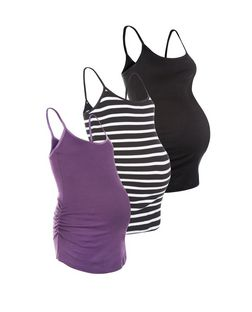Maternity 3 Pack Purple White and Black Vests  | New Look