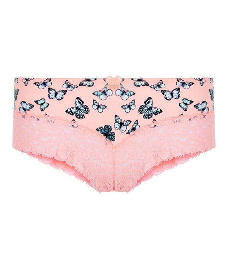 Coral Butterfly Print Lace Leg Briefs | New Look