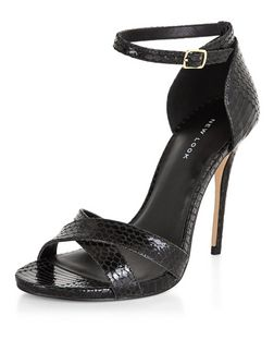 Black Leather Snakeskin Print Cross Strap Platform Heels  | New Look