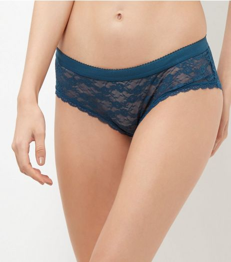 Blue Floral Lace Briefs | New Look