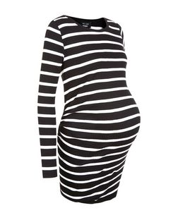 Maternity Black Stripe Ribbed Long Sleeve Tunic | New Look