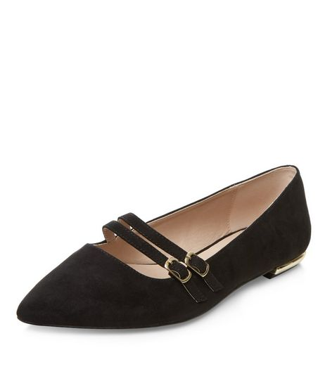 Wide Fit Double Strap Pointed Pumps  | New Look