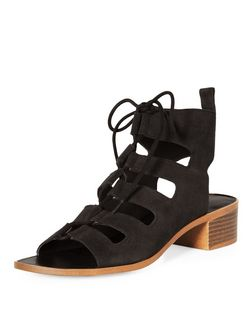 Black Suede Lace Up Ghillie Heeled Sandals  | New Look