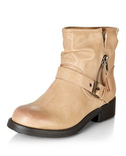 Light Brown Shearling Lined Buckle Strap Ankle Boots  | New Look