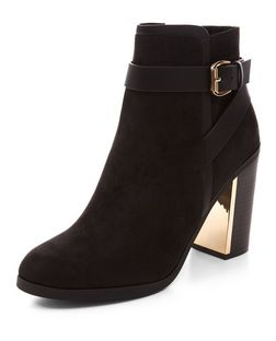 Black Buckle Strap Block Heel Ankle Boots  | New Look