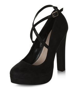Black Cross Strap Platform Block Heels  | New Look