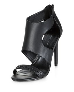 Black Cut Out Heeled Sandals | New Look