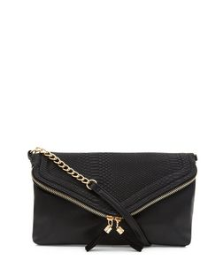 Black Snakeskin Print Envelope Clutch | New Look
