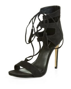 Black Ghillie Heeled Sandals  | New Look