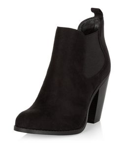 Black Western Block Heel Chelsea Boots  | New Look