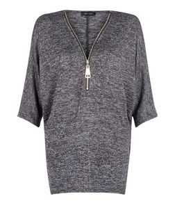 Dark Grey Zip Space Dye Top | New Look