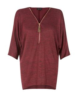 Burgundy Fine Knit Zip Front Top | New Look