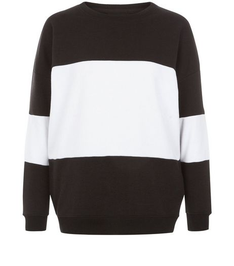 Black Colour Block Sweater  | New Look