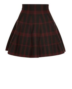 Red Check Skater Skirt  | New Look