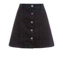 Anita and Green Black Button Front A-Line Skirt | New Look
