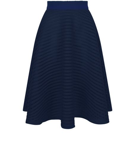Navy Mesh Stripe Midi Skirt  | New Look