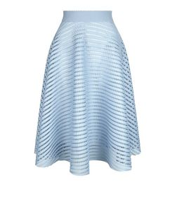 Pale Blue Mesh Stripe Midi Skirt  | New Look