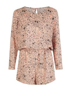 JDY Pink Bird Print Long Sleeve Playsuit | New Look