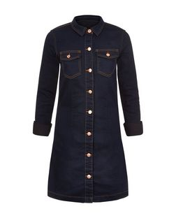JDY Navy Denim Double Pocket Shirt Dress | New Look