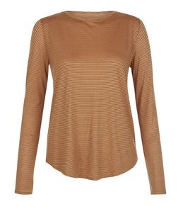 JDY Rust Stripe Long Sleeve Top  | New Look