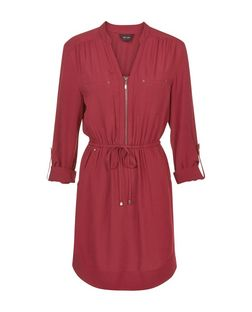 Burgundy Zip Front 3/4 Sleeve Shirt Dress | New Look