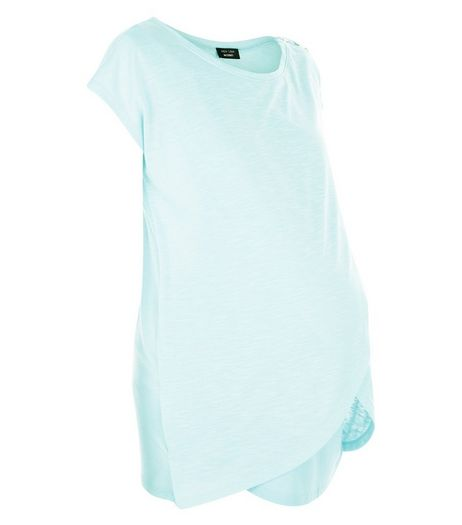 Maternity Mint Green Wrap Front Nursing T-Shirt | New Look