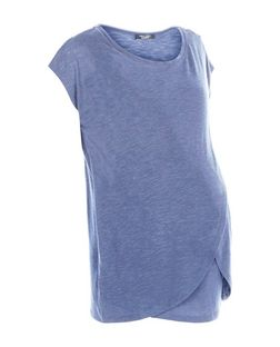 Maternity Blue Wrap Front Nursing T-Shirt | New Look