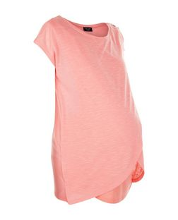 Maternity Mid Pink Wrap Front Nursing T-Shirt | New Look