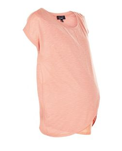 Maternity Coral Wrap Front Nursing T-Shirt | New Look