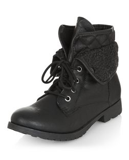 Black Shearling Trim Lace Up Ankle Boots | New Look