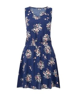 Apricot Navy Oriental Print Pocket Dress  | New Look
