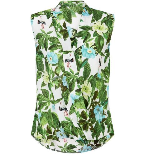 Apricot Cream Poppy Print Wrap Front Sleeveless Top  | New Look