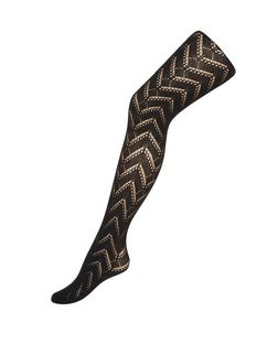 Black Chevron Tights | New Look