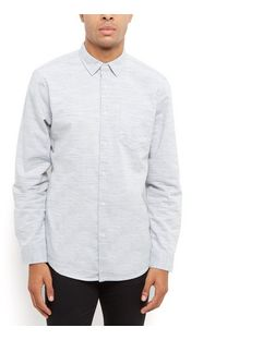 Blue Marl Textured Long Sleeve Shirt | New Look