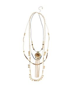 Gold Premium Layered Coin Tassel Necklace  | New Look