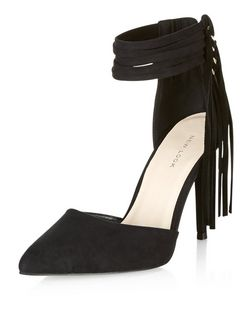 Black Fringe Ankle Strap Pointed Heels  | New Look