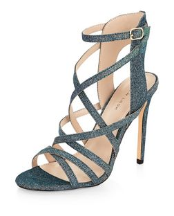 Blue Glitter Strappy Heels  | New Look