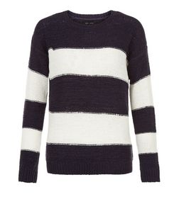 Blue Stripe Jumper  | New Look
