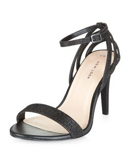 Black Textured Ankle Strap Heels  | New Look
