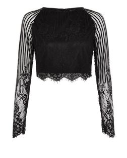 Black Lace Long Sleeve Crop Top  | New Look