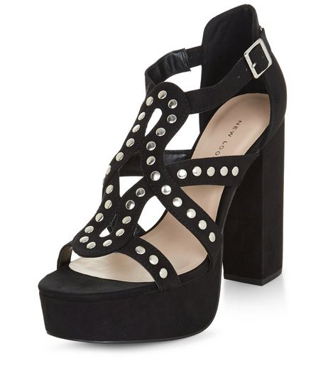 Black Studded Cross Strap Platform Block Heels  | New Look