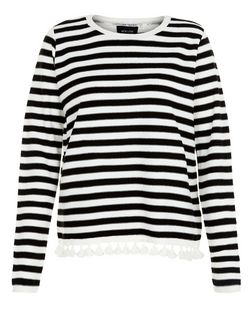 Black Stripe Pom Pom Trim Jumper  | New Look