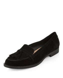 Black Fringed Tassel Loafers | New Look