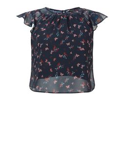 Girls Blue Butterfly and Bird Print 2 Blouse | New Look
