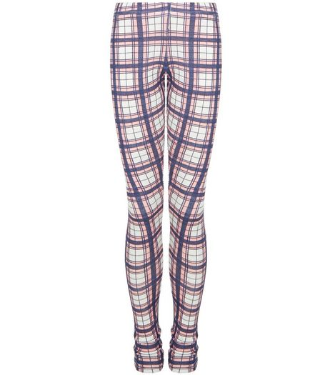 Girls Pink Check Leggings  | New Look