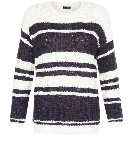 Blue Stripe Textured Slub Jumper  | New Look