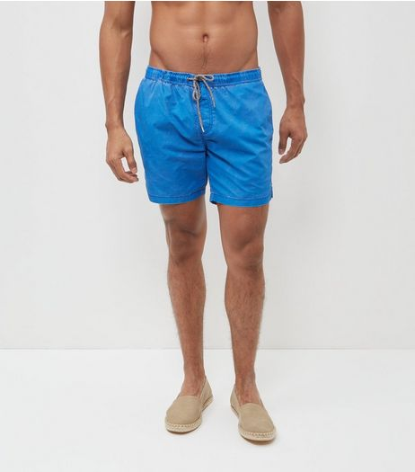 Blue Acid Wash Swim Shorts | New Look