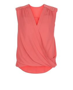 Lost Society Coral D-Ring Wrap Front Blouse  | New Look