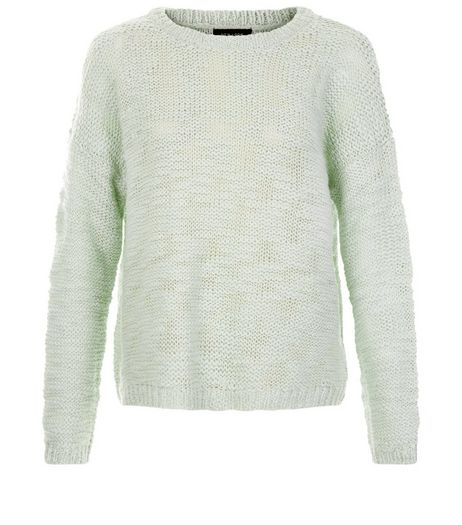 Mint Green Textured Slub Jumper  | New Look