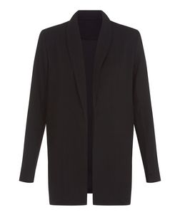 Poppy Lux Black Crepe Longline Blazer | New Look